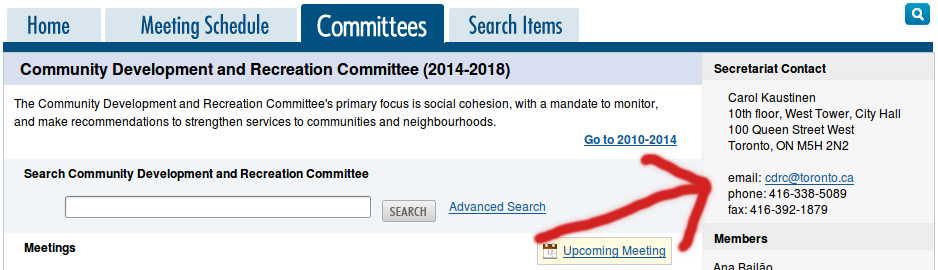 Each committee's page at toronto.ca/council has a contact email in the sidebar.